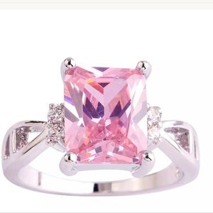 Jewelry - 925 silver Emerald cut Pink & White Sapphire ring
